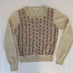 Sundance sequence red , gold & silver tan cardigan